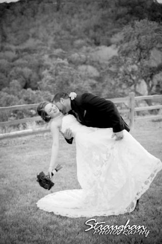 Logan's wedding Bella Springs Boerne TX couple dipping