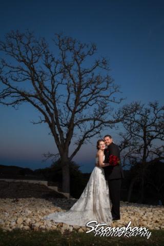 Logan's wedding Bella Springs Boerne TX couple at sunset