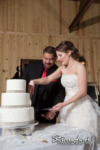 Logan's wedding Bella Springs Boerne TX cake cutting