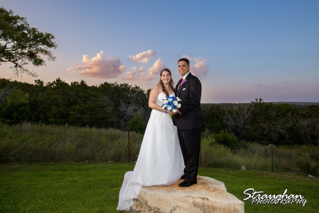 Lacey wedding Boulder Springs Legacy Hall couple at sunset on rock