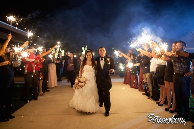 Sparklers bride and groom exit