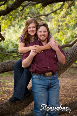 Lauren and Micah engagement Texas A&M sitting in Century tree