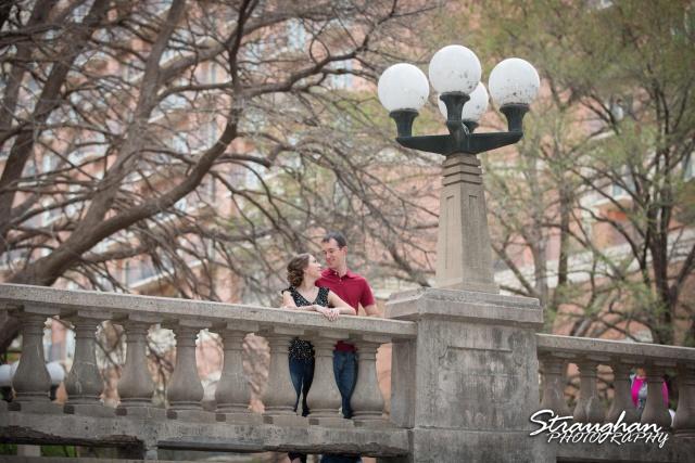 Laura and Ryan engagement downtown San Antonio bridge