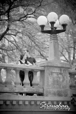 Laura and Ryan engagement downtown San Antonio bw on bridge