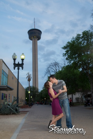 Laura and Ryan engagement downtown San Antonio tower of the americas