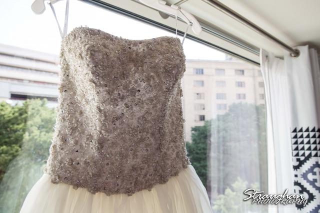Laura wedding Hotel Contessa dress in the window