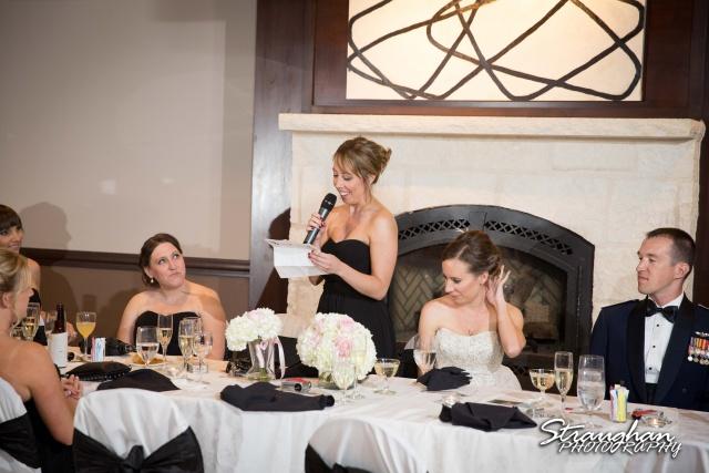Laura wedding Hotel Contessa toast maid of honor