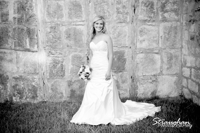 Lynn's Bridal 1850 Settlement in Bulverde rock wall bw