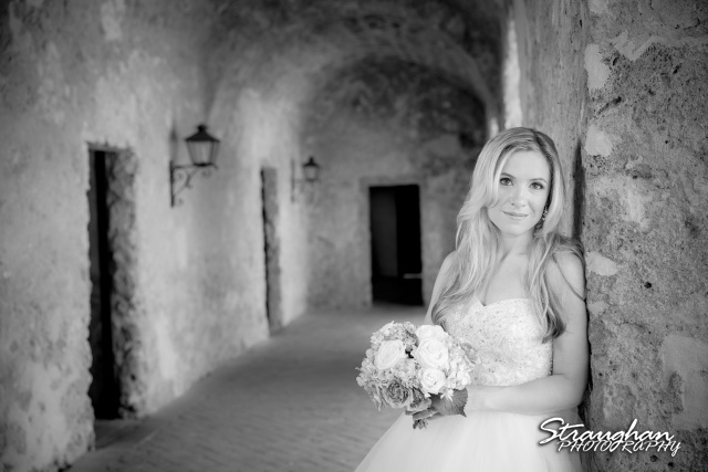 Michelle A bridal Mission Concepcion arches bw
