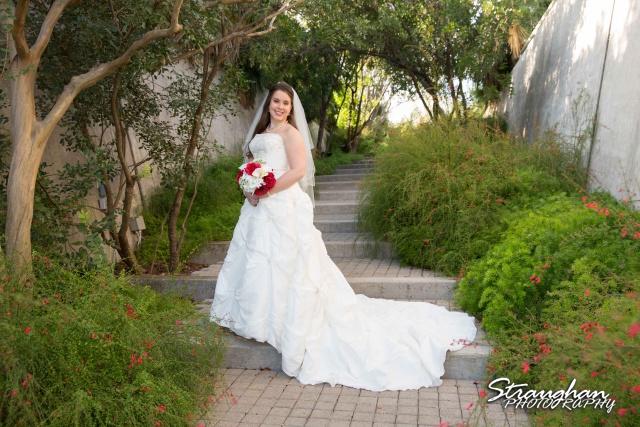 Michelle Bridal San Antonio Botanical Gardens on Stairs