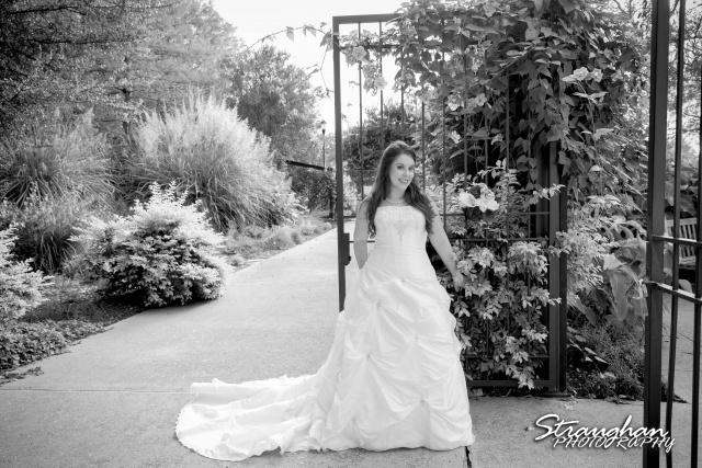 Michelle Bridal San Antonio Botanical Gardens bw at the gate
