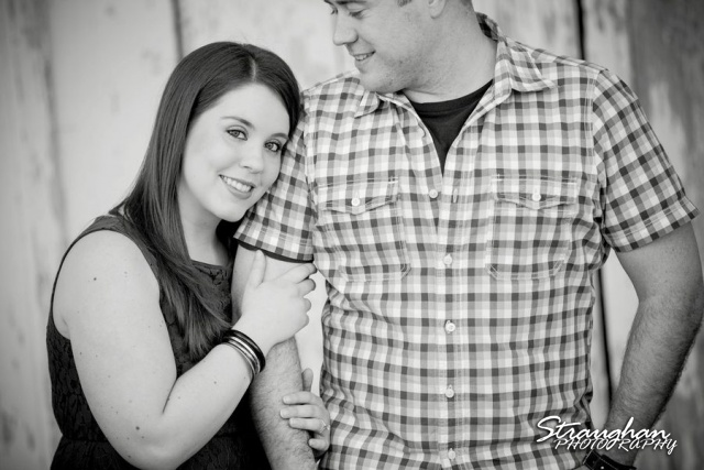 Michelle's engagement in Gruene against black and white