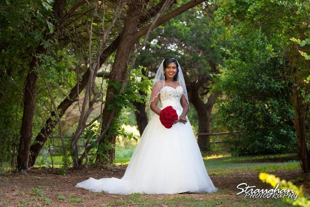 "Michelle Moore""s Bridal no veil in front of trees"