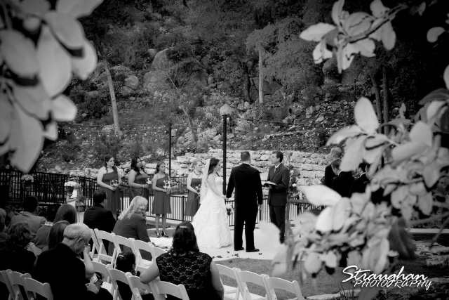Michelle's Wedding The Lodge at Bridal Veil Falls the ceremony behind trees