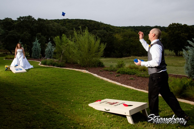 Monica wedding Bella Springs beanbag toss
