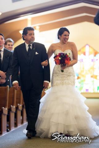 Alexis wedding St Luke's Catholic Church the aisle