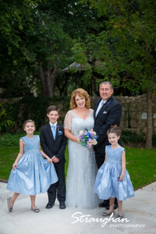 Rebecca wedding Southwest School couple with the kids