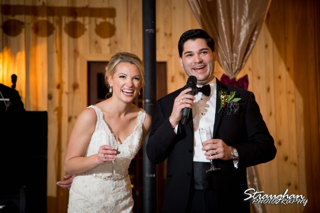 Sarah Higley wedding Bella Springs toast laughing