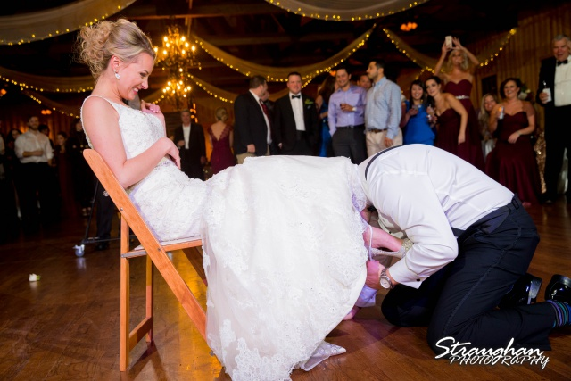 Sarah Higley wedding Bella Springs garter grab
