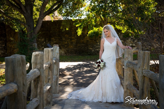 Sarah Higley Bridal Mission San Jose on the bridge