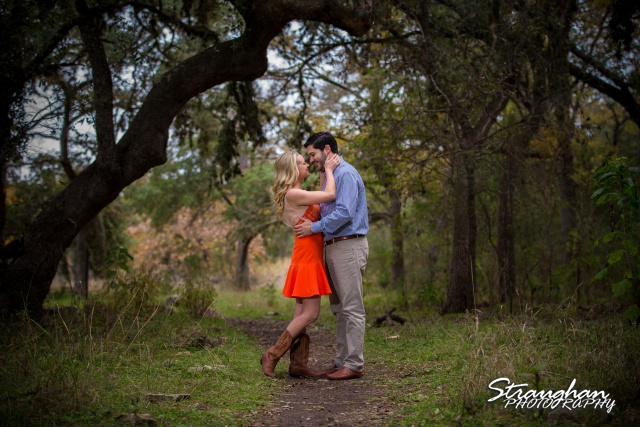 Sarah Higley engagement cibolo natural area in the trees