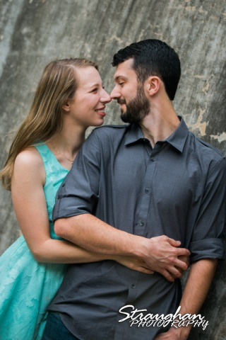 Skylar Engagement San Antonio Botanical Gardens wall