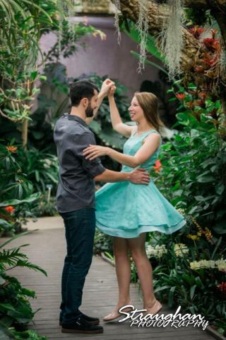 Skylar Engagement San Antonio Botanical Gardens dancing