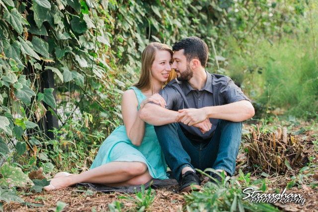 Skylar Engagement San Antonio Botanical Gardens grass