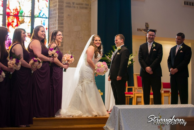 Stephanie wedding Holy Trinity Church laughing