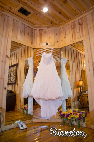 Jeanette wedding Boulder Springs Stonehaven dress hanging