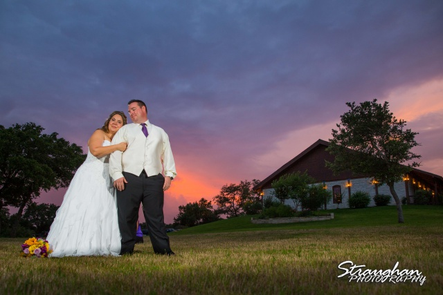 Jeanette wedding Boulder Springs Stonehaven sunset with the building