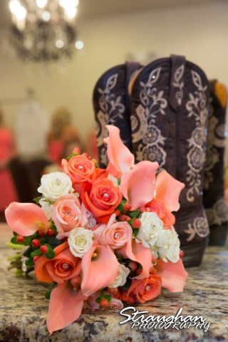 Teresa wedding Boulder Springs, Legacy hall boots with flowers