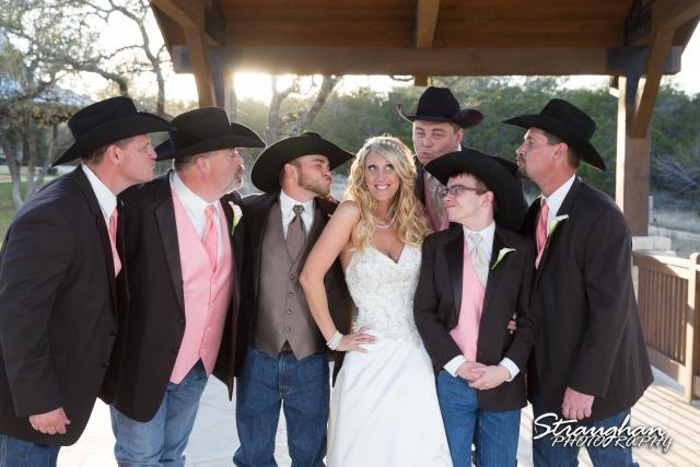Teresa wedding Boulder Springs, Legacy hall bride with groomsmen