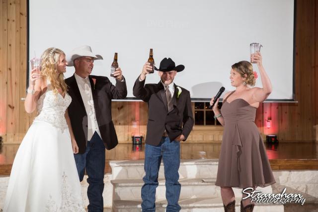 Teresa wedding Boulder Springs, Legacy hall toast