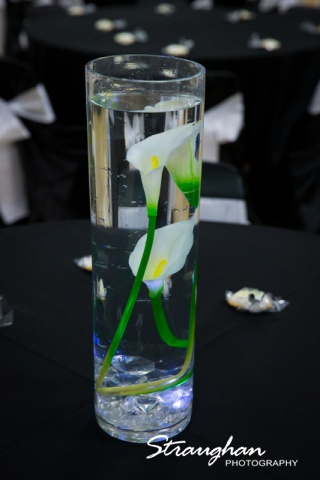 Toni's Wedding Schertz flutes centerpiece