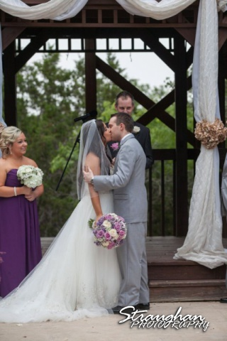 Stephanie wedding Spring Hill Event Center kiss