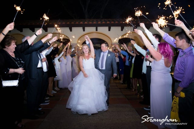 wedding party with light