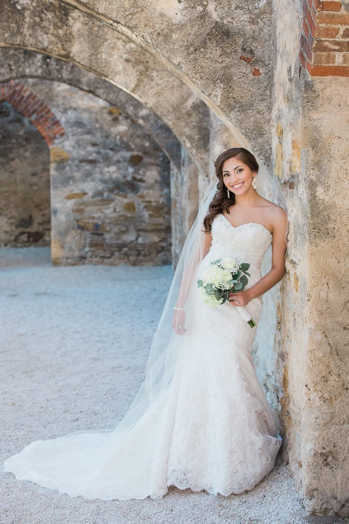 bridal photo at the missions