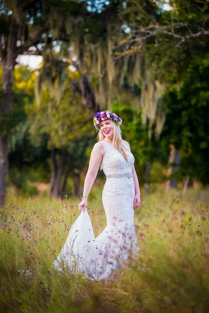 bridal dress on nature