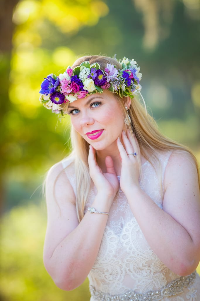 bridal photo with flower crown