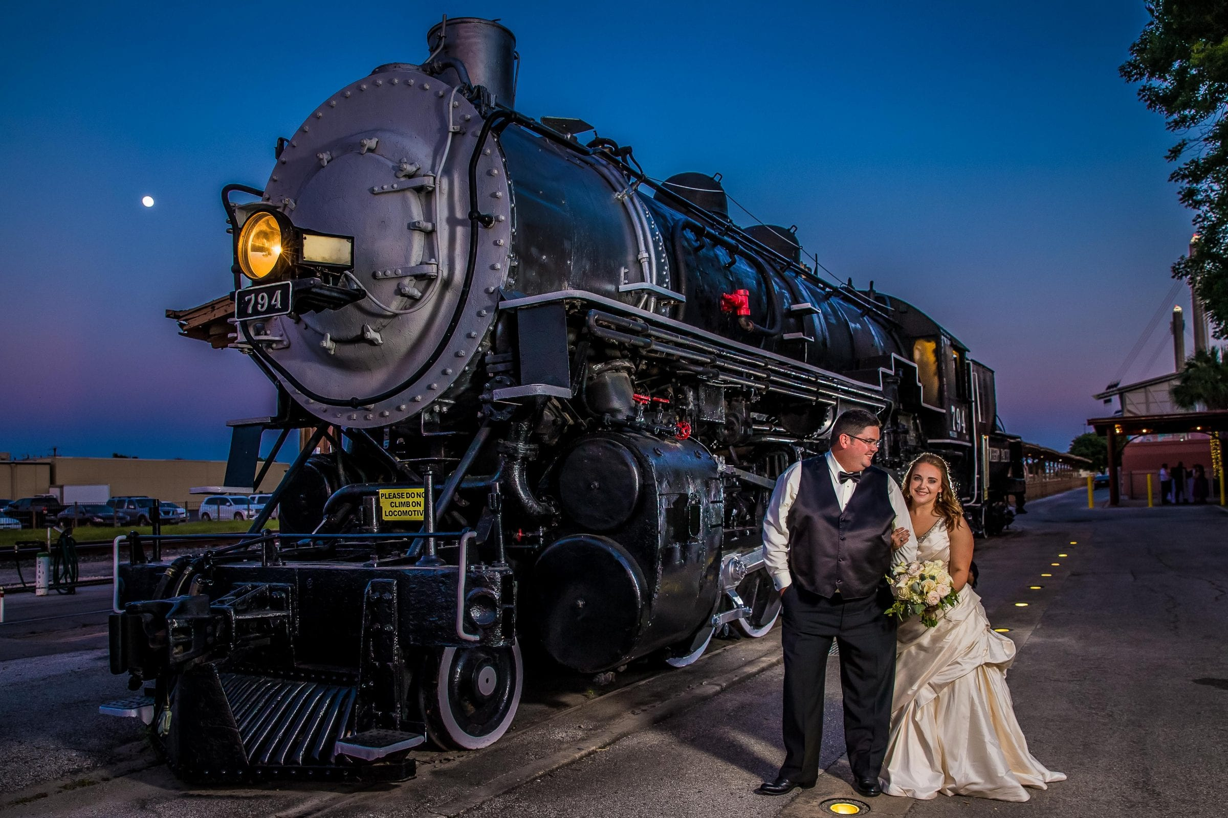 Wedding photo with train