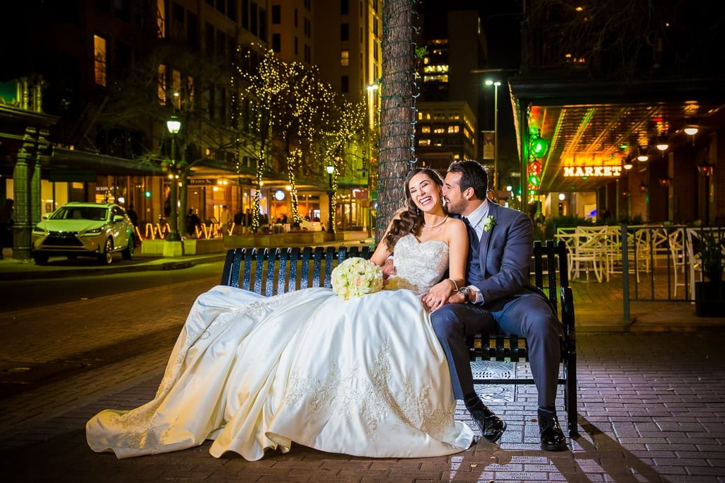 wedding clothes on the city landscape
