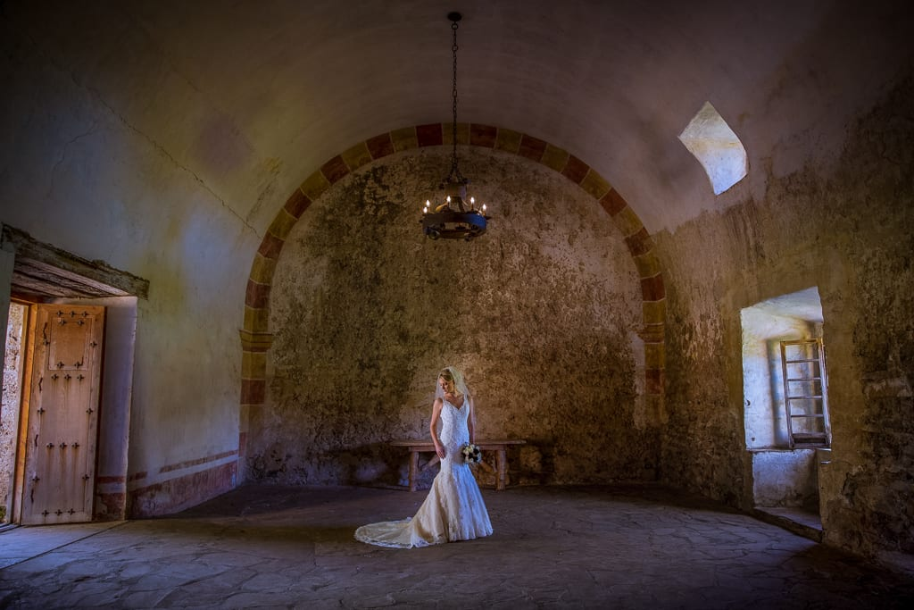 bridal photo inside of the missions