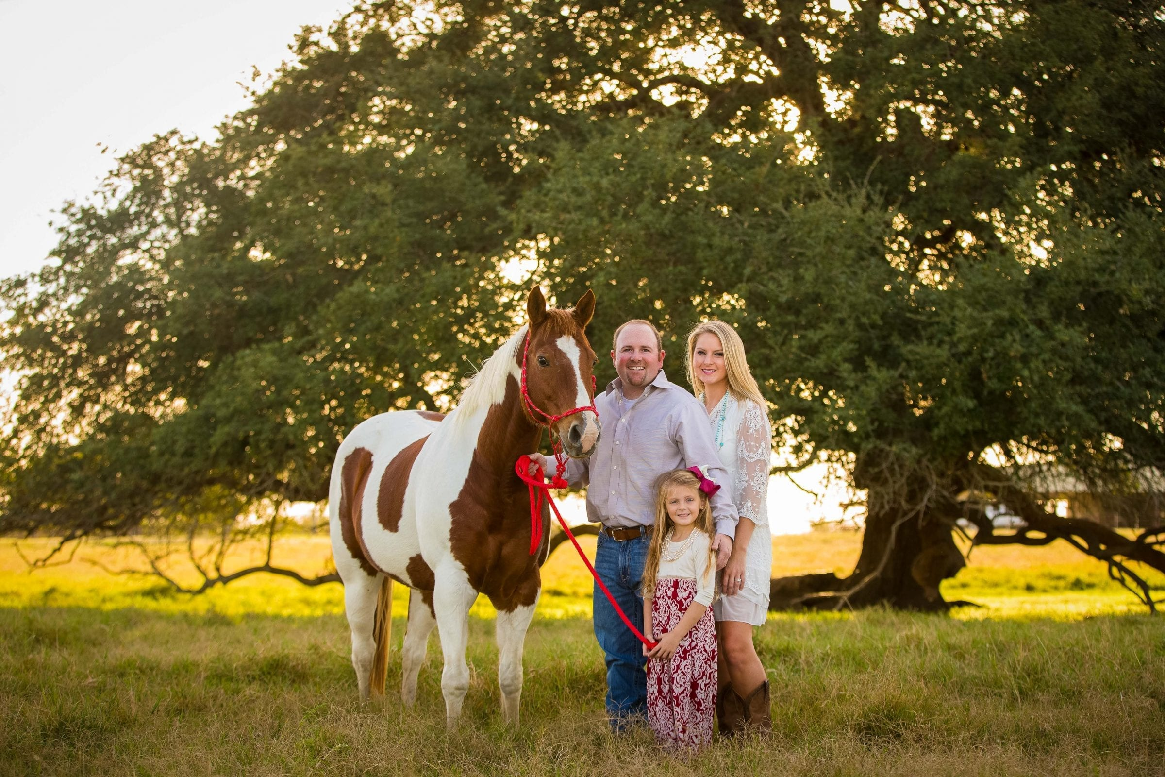 engagement photo with family and horse