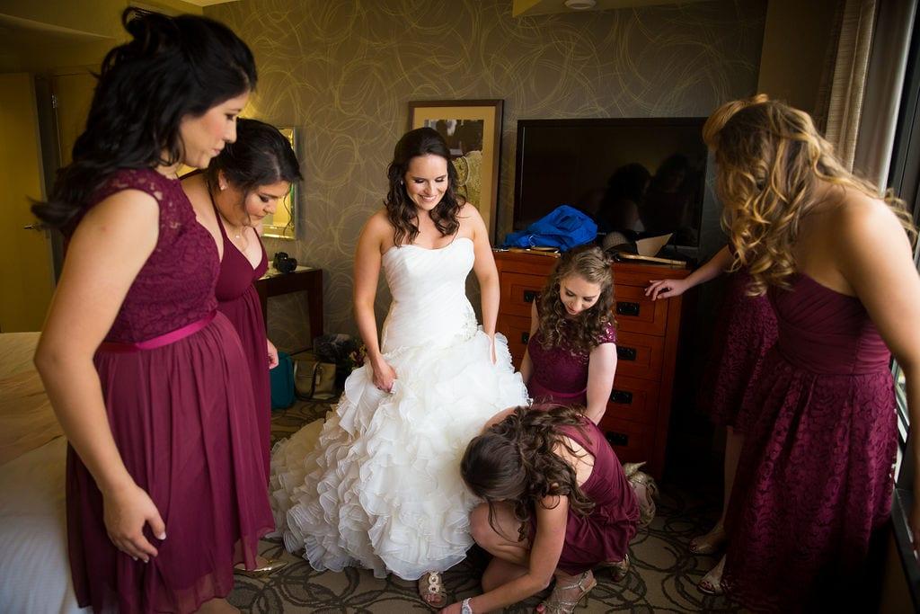Ashley and Josh's wedding Ashley dressing