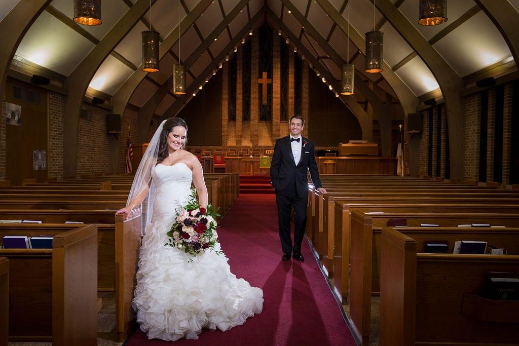 Ashley and Josh's wedding church portrait