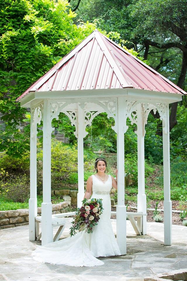 Andrea's bridal in the gazebo at zilker park Austin