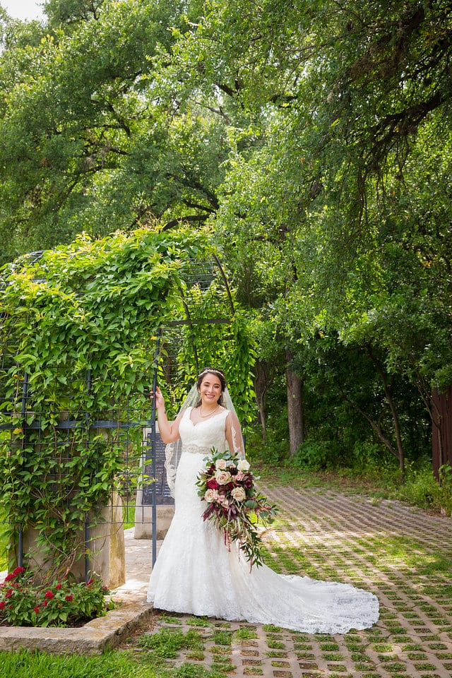 Andrea's Bridal metal arch in the Austin Botanical Gardens
