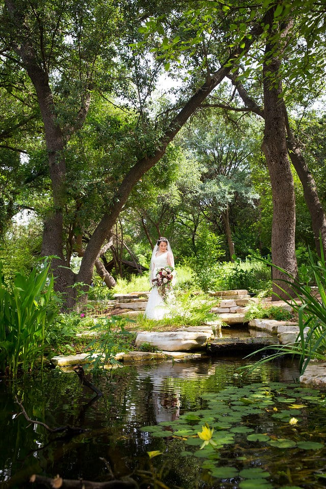 Andrea's Bridal waters edge in the Austin Botanical Gardens
