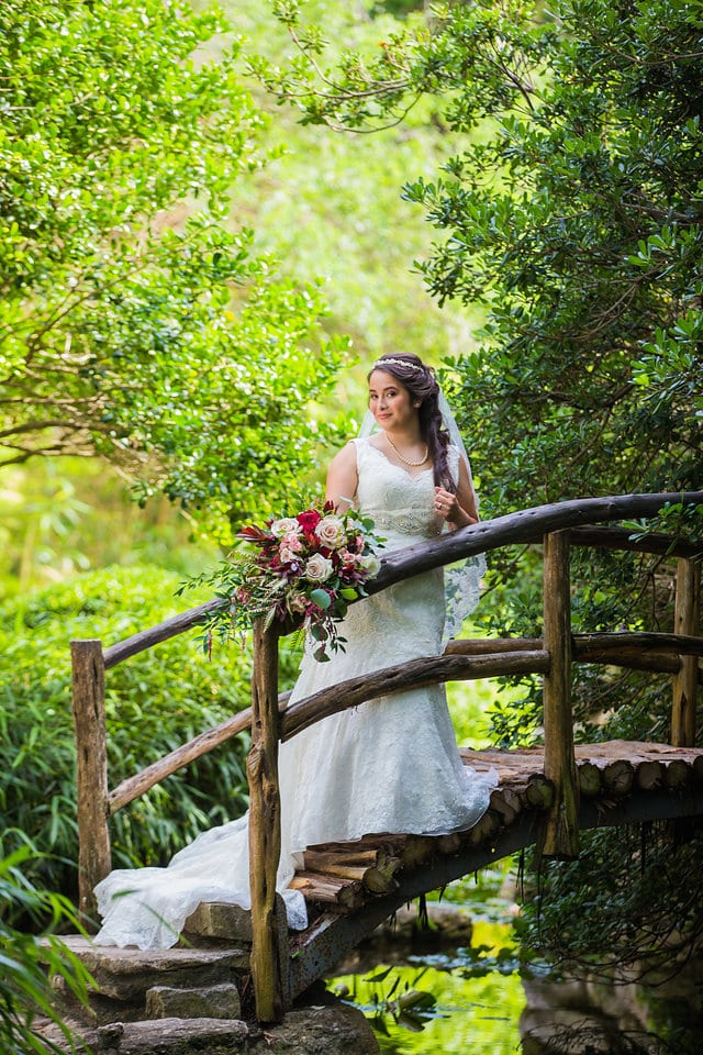 Andrea's Bridal on the wooden bridge in the Austin Botanical Gardens